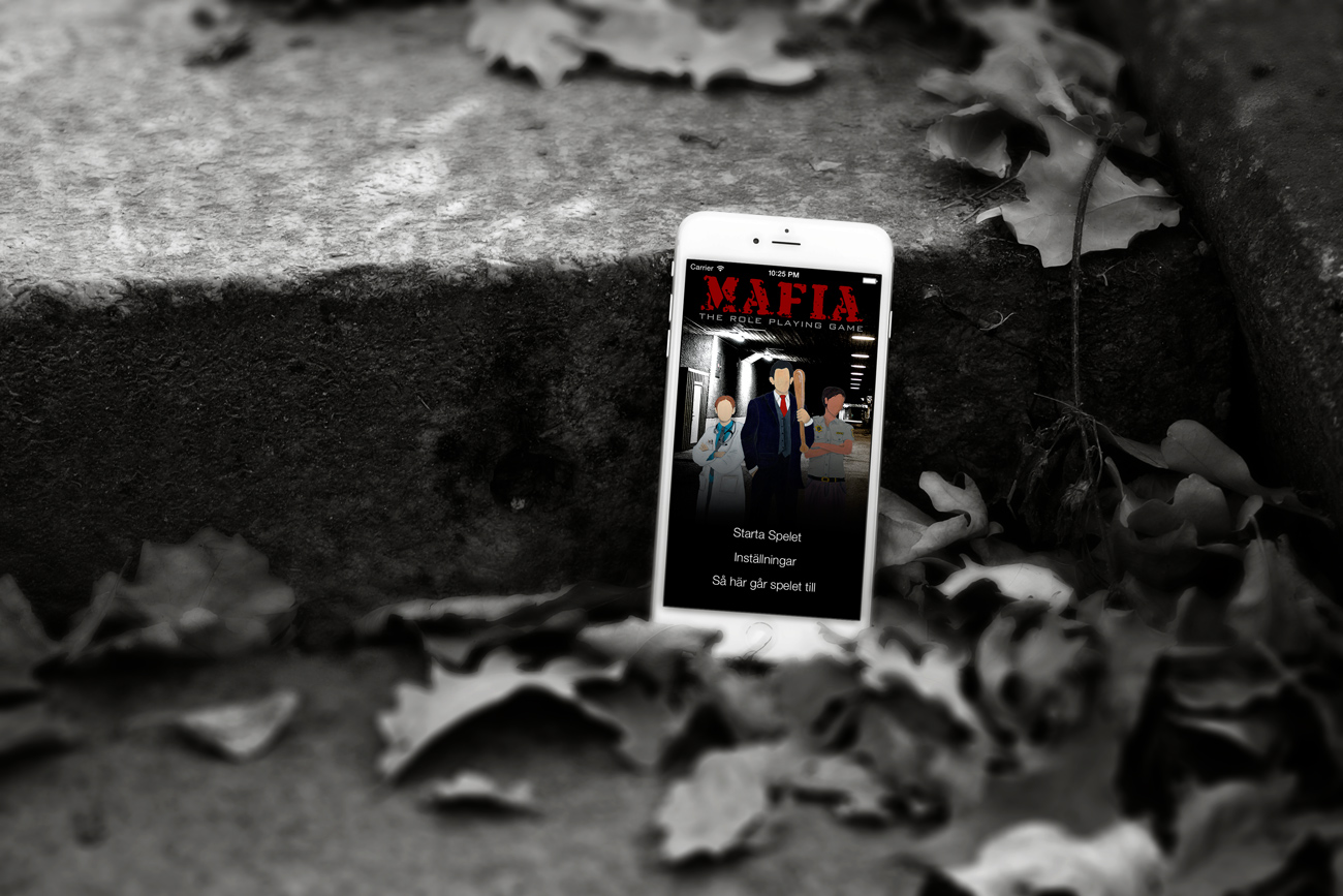 Mafia App cover image with iphone mock up